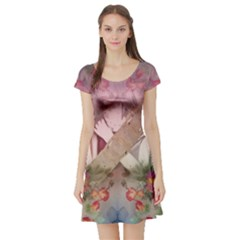 Nature And Human Forces Short Sleeve Skater Dresses