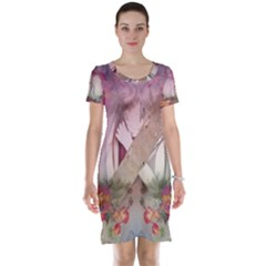 Nature And Human Forces Short Sleeve Nightdresses
