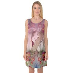 Nature And Human Forces Sleeveless Satin Nightdresses