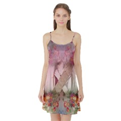 Nature And Human Forces Satin Night Slip
