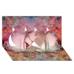 Nature And Human Force Twin Hearts 3d Greeting Card (8x4)