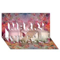 Nature and Human Force Merry Xmas 3D Greeting Card (8x4)