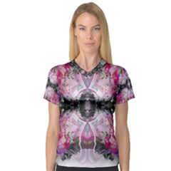 Nature forces Abstract Women s V-Neck Sport Mesh Tee