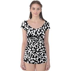 Black and White Blots  Short Sleeve Leotard