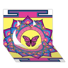 Butterfly Mandala Heart 3D Greeting Card (7x5)