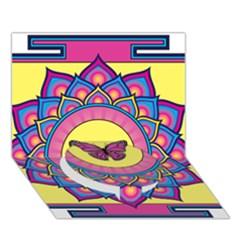 Butterfly Mandala Circle Bottom 3D Greeting Card (7x5)