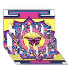 Butterfly Mandala TAKE CARE 3D Greeting Card (7x5)