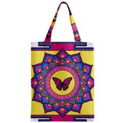 Butterfly Mandala Zipper Classic Tote Bags