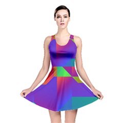Colorful Gradient Shapes Reversible Skater Dress
