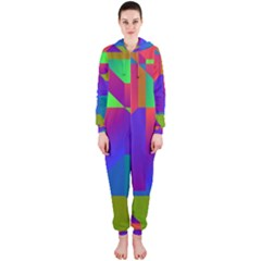 Colorful gradient shapes Hooded OnePiece Jumpsuit