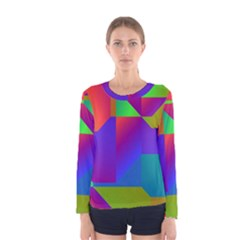Colorful gradient shapes Women Long Sleeve T-shirt