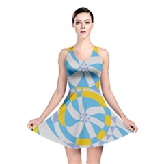Abstract Flower In Concentric Circles Reversible Skater Dress
