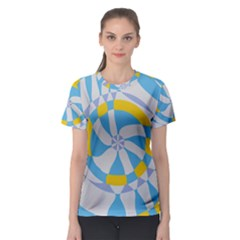 Abstract flower in concentric circles Women s Sport Mesh Tee
