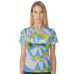 Abstract Flower In Concentric Circles Women s V Neck Sport Mesh Tee