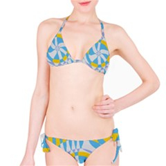 Abstract Flower In Concentric Circles Bikini Set