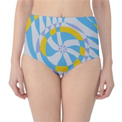 Abstract Flower In Concentric Circles High Waist Bikini Bottoms