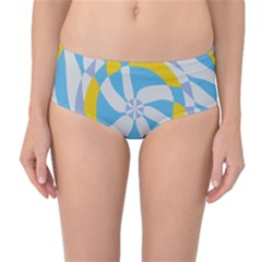 Abstract flower in concentric circles Mid-Waist Bikini Bottoms