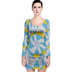 Abstract flower in concentric circles Long Sleeve Bodycon Dress