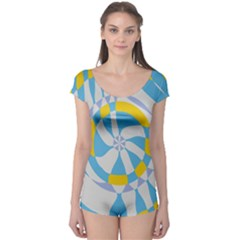 Abstract Flower In Concentric Circles Short Sleeve Leotard