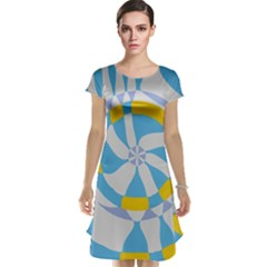 Abstract Flower In Concentric Circles Cap Sleeve Nightdress