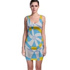Abstract flower in concentric circles Bodycon Dress