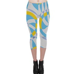 Abstract flower in concentric circles Capri Leggings