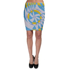 Abstract flower in concentric circles Bodycon Skirt