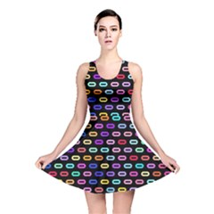 Colorful round corner rectangles pattern Reversible Skater Dress