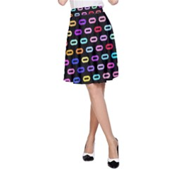 Colorful round corner rectangles pattern A-line Skirt
