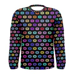 Colorful Round Corner Rectangles Pattern Men Long Sleeve T Shirt