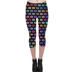 Colorful Round Corner Rectangles Pattern Capri Leggings
