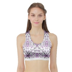 Geometric Pattern Nature Print Women s Sports Bra with Border