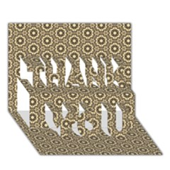 Cute Pretty Elegant Pattern THANK YOU 3D Greeting Card (7x5)