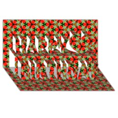 Lovely Trendy Pattern Background Pattern Happy Birthday 3d Greeting Card (8x4)
