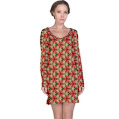 Lovely Trendy Pattern Background Pattern Long Sleeve Nightdresses