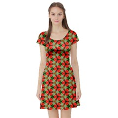 Lovely Trendy Pattern Background Pattern Short Sleeve Skater Dresses