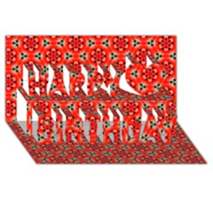 Lovely Orange Trendy Pattern  Happy Birthday 3D Greeting Card (8x4)