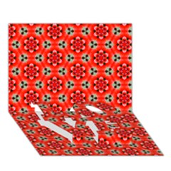 Lovely Orange Trendy Pattern  LOVE Bottom 3D Greeting Card (7x5)