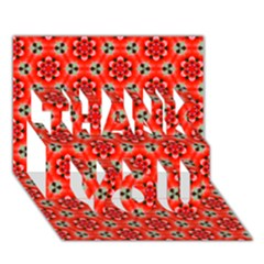 Lovely Orange Trendy Pattern  THANK YOU 3D Greeting Card (7x5)