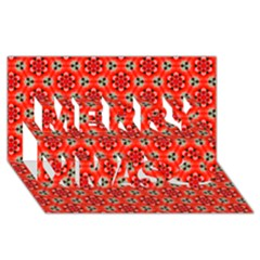 Lovely Orange Trendy Pattern  Merry Xmas 3D Greeting Card (8x4)