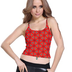 Lovely Orange Trendy Pattern  Spaghetti Strap Bra Tops