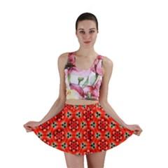 Lovely Orange Trendy Pattern  Mini Skirts