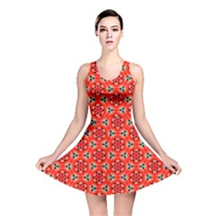Lovely Orange Trendy Pattern  Reversible Skater Dresses