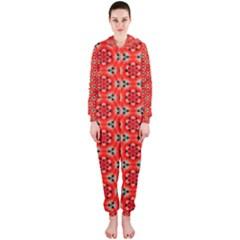 Lovely Orange Trendy Pattern  Hooded Jumpsuit (Ladies)