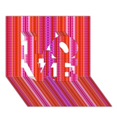 Orange Tribal Aztec Pattern Love 3d Greeting Card (7x5)