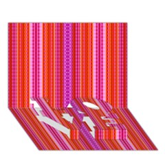 Orange tribal aztec pattern LOVE Bottom 3D Greeting Card (7x5)