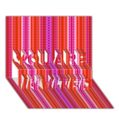 Orange Tribal Aztec Pattern You Are Invited 3d Greeting Card (7x5)