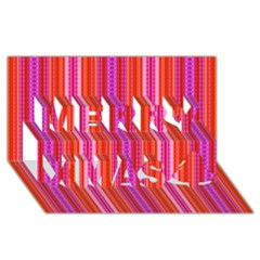 Orange Tribal Aztec Pattern Merry Xmas 3d Greeting Card (8x4)