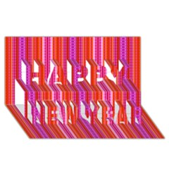Orange Tribal Aztec Pattern Happy New Year 3d Greeting Card (8x4)