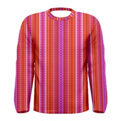 Orange tribal aztec pattern Men s Long Sleeve T-shirts